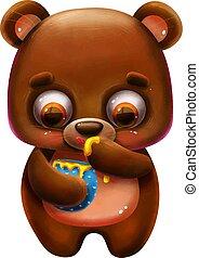 miel, teddy, alphabet, rigolote, dessin animé, lettre, ours