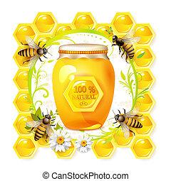 miel, verre, abeilles, pot