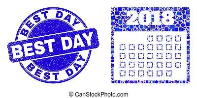 mieux, calendrier, 2018, mosaïque, timbre, bleu, gratté, page, jour