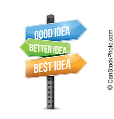 mieux, mieux, bon, idées, illustration