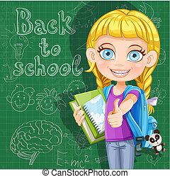 mignon, école, tableau noir, -, dos, livres, girl