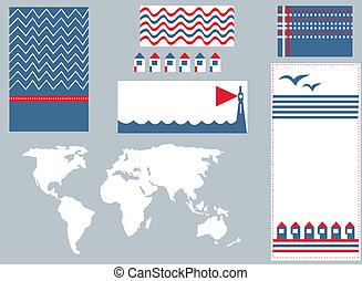mignon, éléments, ensemble, infographic, conception, mer, bannière