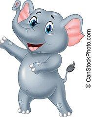 mignon, éléphant, présentation, dessin animé