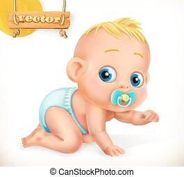 mignon, 3d, vecteur, baby., kid., icône