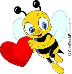 mignon, abeille, valentin