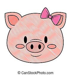 mignon, adorable, caractère, porcin, femme