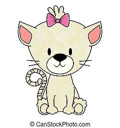 mignon, adorable, chaton, femme, caractère