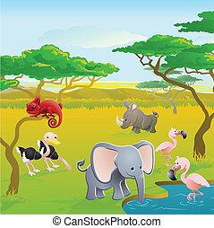 mignon, africaine, dessin animé, animal, safari