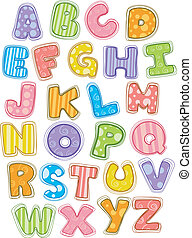 mignon, alphabet, lettres, capital