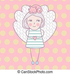 mignon, amour, ange, elle, illustration, chat, vecteur, cat., head., girl, ailes, carte