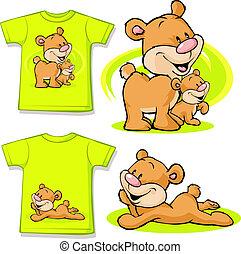 mignon, amour, chemise, -, isolé, ours, imprimé, blanc, gosse