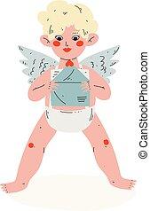 mignon, ange, amour, rigolote, symbole, amur, enveloppe, cupidon, valentin, vecteur, illustration, tenant bébé, lettre, jour, heureux