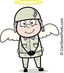 mignon, ange, armée, -, illustration, soldat, vecteur, déguisement, dessin animé, homme