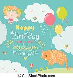 mignon, ange, chat, carte anniversaire, heureux