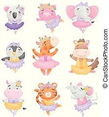 mignon, animaux, ballerine, dresses., illustration, arrière-plan., vecteur, blanc, dessin animé