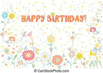 mignon, anniversaire, conception, bannière florale, heureux