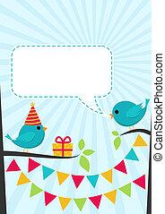 mignon, anniversaire, vecteur, arbres, fête, oiseaux, carte