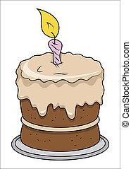mignon, -, anniversaire, vecteur, gâteau, dessin animé