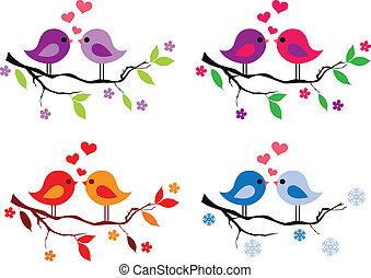mignon, arbre, oiseaux, rouges, cœurs