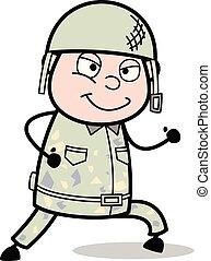 mignon, armée, -, illustration, soldat, courant, vecteur, sourire, dessin animé, homme