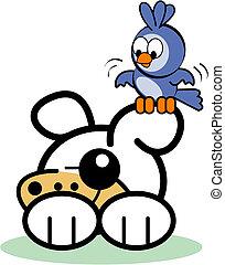 mignon, art, agrafe, chien, oiseau, dessin animé
