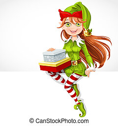 mignon, asseoir, elfe, dons, santa, girl, bannière, blanc