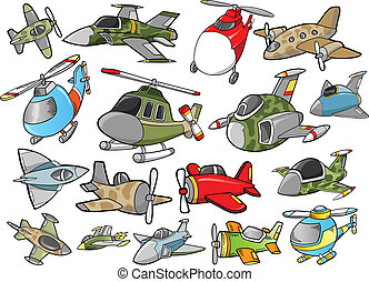 mignon, avion, vecteur, conception, ensemble