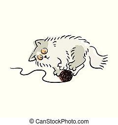 mignon, balle, lumière, gris, fil, chat, jouer