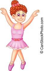 mignon, ballerine, onduler, poser, sourire, dessin animé