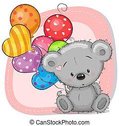 mignon, ballons, dessin animé, ours, teddy
