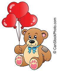 mignon, ballons, ours, teddy