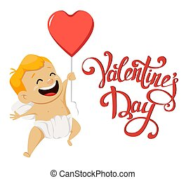 mignon, balloon, valentines, salutation, cupidon, air, tenue, jour, carte