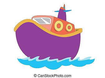 mignon, bateau, vecteur, enfants, illustration