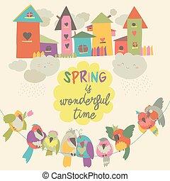 mignon, birdhouses, oiseaux, coloré, printemps