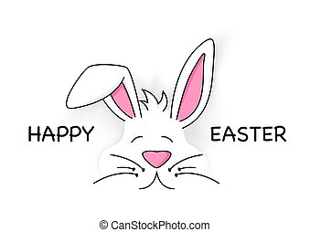 mignon, blanc, lapin pâques, heureux