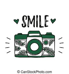 mignon, bon appareil-photo, retro, design., illustration., vector.