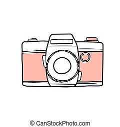 mignon, bon appareil-photo, retro, vecteur, design., illustration.