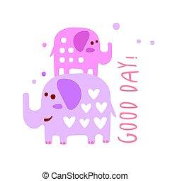 mignon, bon, coloré, deux, elephants., main, vecteur, illustration, dessiné, dessin animé, jour