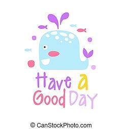 mignon, bon, coloré, deux, illustration, main, vecteur, whale., avoir, dessiné, dessin animé, jour