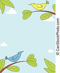 mignon, branches, oiseaux