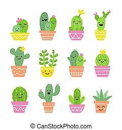 mignon, cactus, ensemble