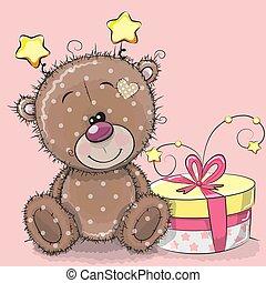 mignon, cadeau, teddy, salutation, ours, carte