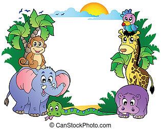 mignon, cadre, animaux, africaine