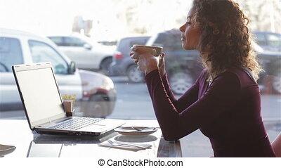 mignon, café, ville, boire, café, girl
