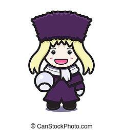 mignon, caractère, hiver, dessin animé, icône, mascotte, déguisement, boule de neige, vecteur, girl, illustration, tenue