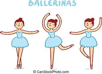 mignon, caractères, ballerines