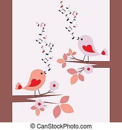 mignon, chant, oiseaux