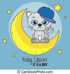 mignon, chat, dessin animé, lune