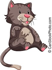 mignon, chat, fourrure, gris