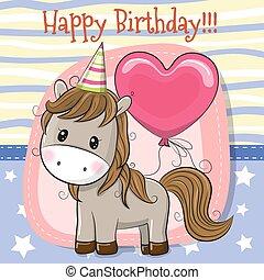 mignon, cheval, dessin animé, balloon